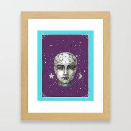 Phrenology head with cigarette. Framed Art Print
