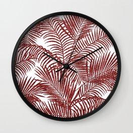 Tropical marsala red faux glitter palm tree pattern Wall Clock
