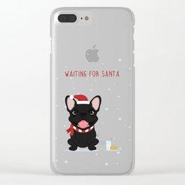 French Bulldog Waiting for Santa - Black / Brindle Edition Clear iPhone Case