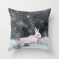 rabbit Throw Pillows featuring White Rabbit by Ben Geiger