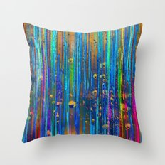 Colored Rain Throw Pillow