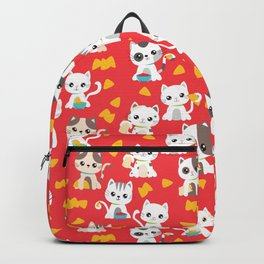 Taco Cat Burrito Kitten Pattern Red Backpack