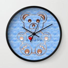 Teddy bear I love you Wall Clock