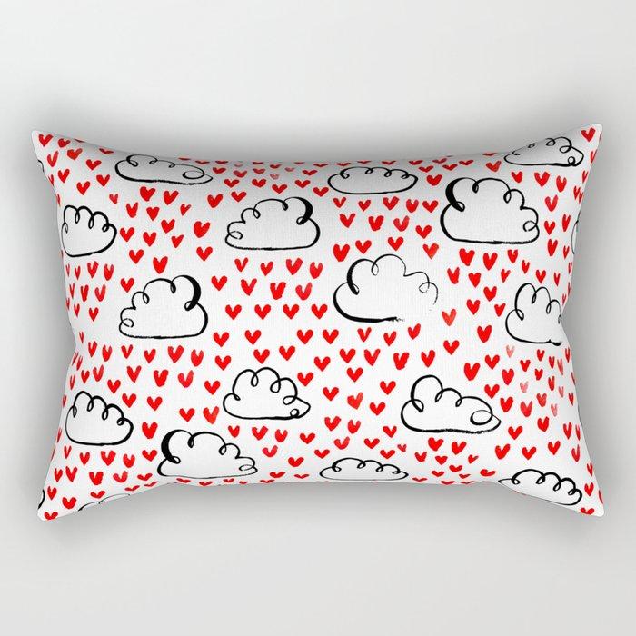 Heart Rain watercolor ink pattern basic minimal love valentines day gifts Rectangular Pillow