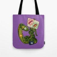 anaconda Tote Bags featuring Anaconda Buns by Artistic Dyslexia