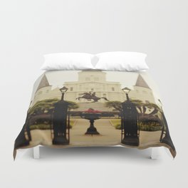 New Orleans Looking Through Jackson Square Duvet Cover