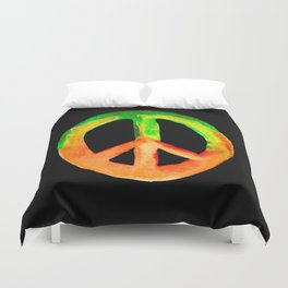 Green Orange Yellow Watercolor Tie Dye Peace Sign Duvet Cover