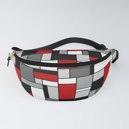 Mid Century Modern Color Blocks in Red, Gray, Black and White Fanny Pack