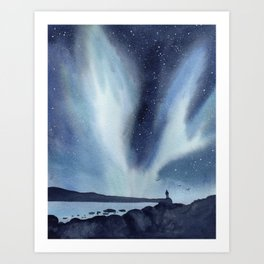 Northern Lights Nature Landscape Painting Art Print