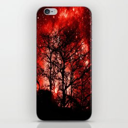 black trees red space iPhone Skin