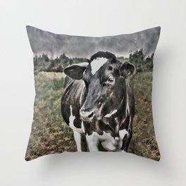 Melancholic Black White Dutch Cow Throw Pillow