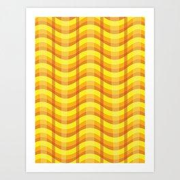 Wavy Plaid (Fire) Art Print