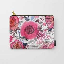 Pink Floral Mix Carry-All Pouch