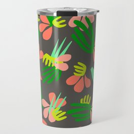 Henri's Garden in gray // tropical flora pattern Travel Mug