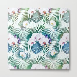 Tropical leaves and orchid flowers design Metal Print