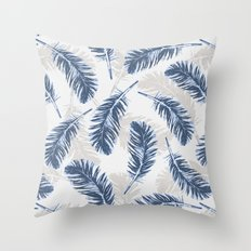 My blue feathers Throw Pillow