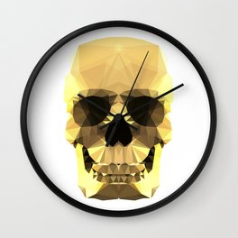 Polygon Heroes - Gold Skull Wall Clock