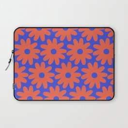 Crayon Flowers 3 Cheerful Smudgy Floral Pattern in Coral and Bright Blue Laptop Sleeve