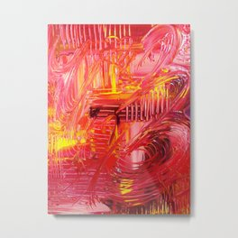 THE TANGO - BOLD Bright and Beautiful, Modern Abstract Painting Dance Home Decor Red Yellow Metal Print