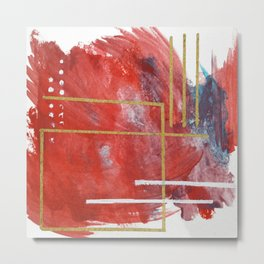 Reckless Abandon: a vibrant abstract mixed-media piece in red and gold by Alyssa Hamilton Art Metal Print