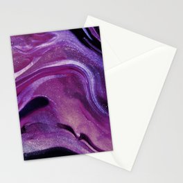 Purple Marble Paint Stationery Cards