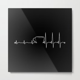Coffee cardiac in black Metal Print