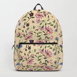 Honeysuckle, Bees and Hellebore Pattern Backpack