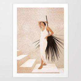 Minimal Woman with a Palm Leaf Art Print