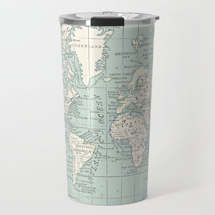 World map in blue and cream travel mug by catherineholcombe society6 world map in blue and cream travel mug gumiabroncs Choice Image