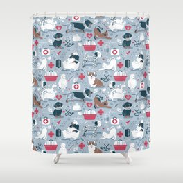 Veterinary medicine, happy and healthy friends // pastel blue background Shower Curtain