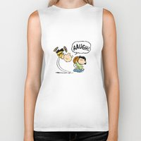charlie brown Biker Tanks featuring Charlie Brown Foot Ball by PSimages