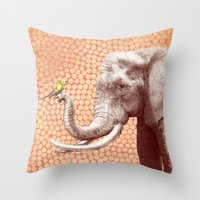 eric fan Throw Pillows featuring New Friends 2 by Eric Fan and Garima Dhawan by Eric Fan