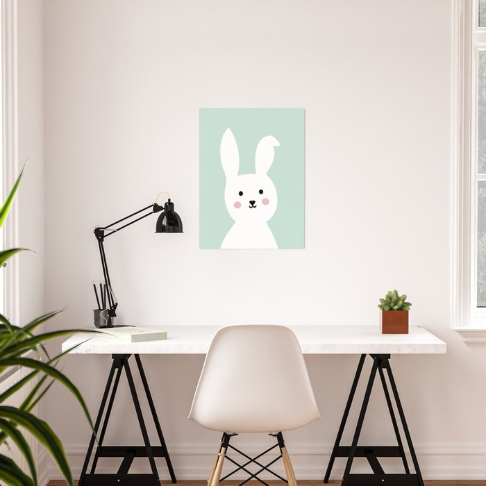 Bunny mint pastel Poster