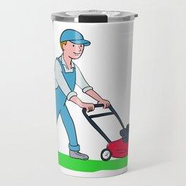 Gardener Mowing Lawn Cartoon Travel Mug