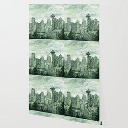 Seattle Skyline Watercolor Space Needle Emerald City 12th Man Art Wallpaper