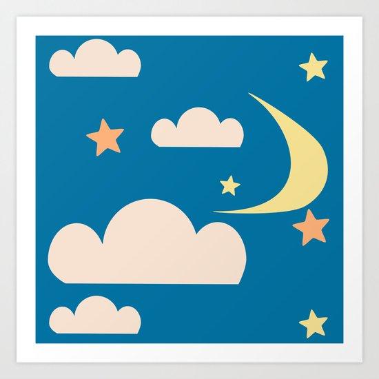 Moon light blue Art Print
