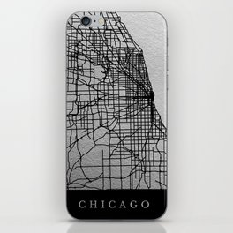 Black and white Chicago map iPhone Skin