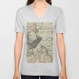 Vintage Map of Portland Maine (1914) Unisex V-Neck