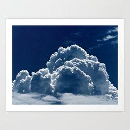 Puffy Cumulus clouds on Deep Blue Sky Art Print