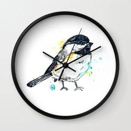 Chickadee - Itty Bitty Chickadee - Watercolor Painting Wall Clock
