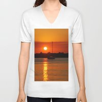 sailboat V-neck T-shirts featuring Sunset Sailboat by Yellow Tie
