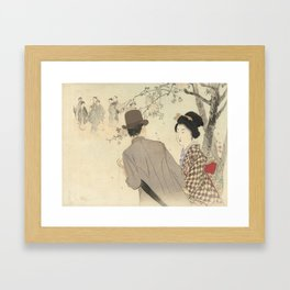 Man with bowler hat and umbrella and lady in kimono - Takeuchi Keishu (1900 - 1925) Framed Art Print