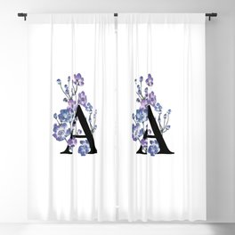 Letter 'A' Anemone Flower Typography Blackout Curtain
