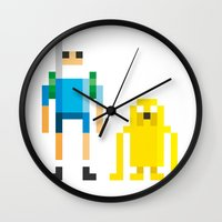 finn Wall Clocks featuring Finn & Jake by Pahito