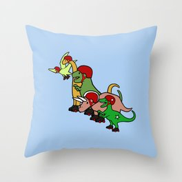 Roller Derby Dinosaurs Throw Pillow