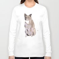 striped Long Sleeve T-shirts featuring Striped Dog by Yuliya