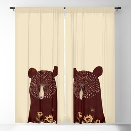 Bear portrait with sunflowers Blackout Curtain