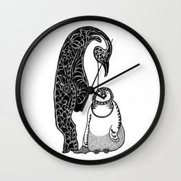 Penguins in Ink Wall Clock