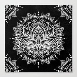 Lotus Mandala - Black Canvas Print
