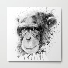 Watercolor Chimpanzee Black and White Metal Print